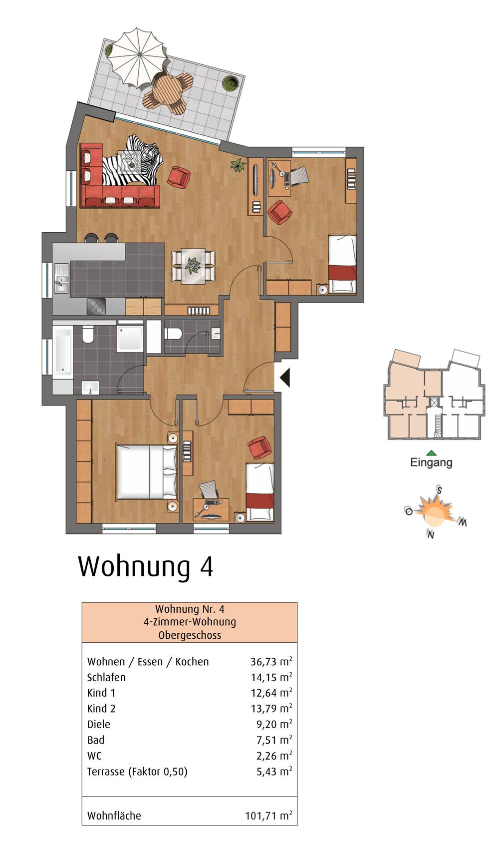 Ehrenberger Straße Wuppertal WE4 Grundriss
